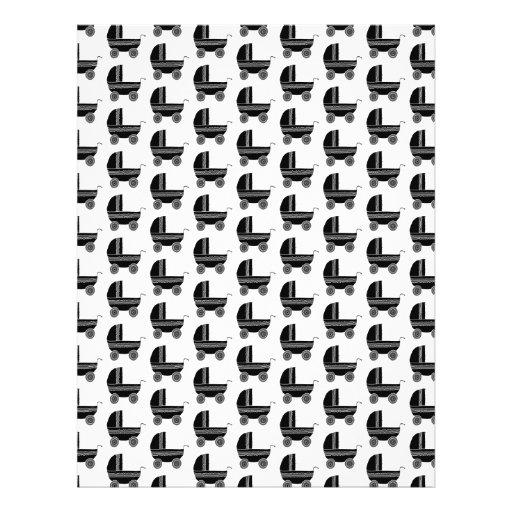 Black and White Baby Stroller Pattern. Custom Flyer