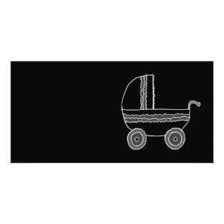 Black and White Baby Stroller. Personalised Photo Card