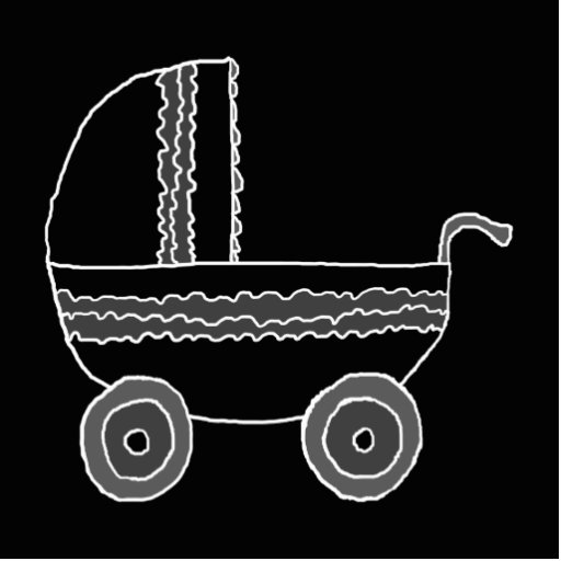 Black and White Baby Stroller. Photo Sculpture