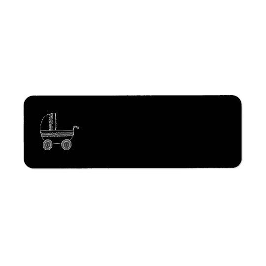 Black and White Baby Stroller. Return Address Label