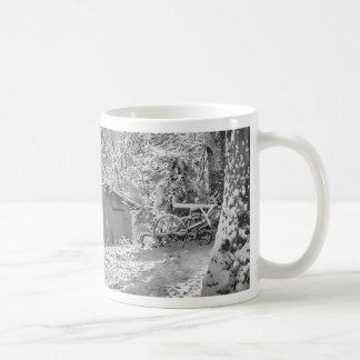 Black and White Backlit Rural Snow Scene Coffee Mug
