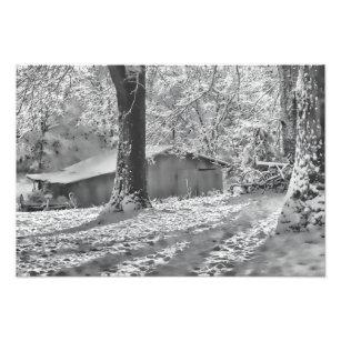 Black and White Backlit Rural Snow Scene Photo Print