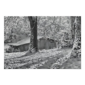 Black and White Backlit Rural Snow Scene Poster