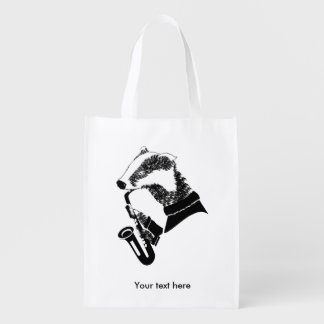 Black and White Badger Playing A Saxophone Reusable Grocery Bag