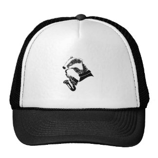 Black and White Badger Saxophone Customizable Cap