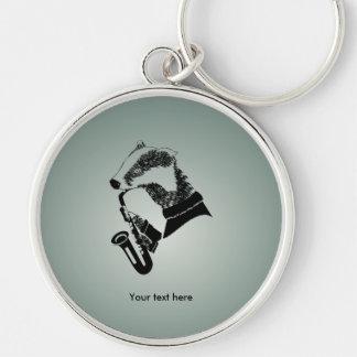 Black and White Badger Saxophone Customizable Key Ring