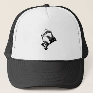 Black and White Badger Saxophone Customizable Trucker Hat