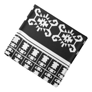 "Black and white Balkan kilim ""Turtle"" inspired Do-rags"
