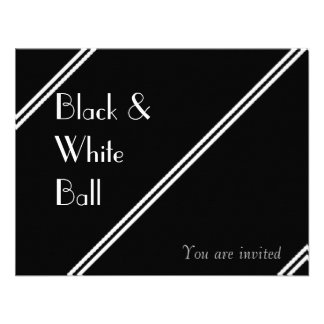 Black and White Ball Personalised Invitation