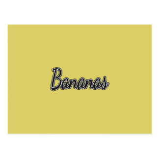 Black and White Bananas on Yellow Postcard