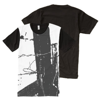 Black and White Barbed Wire All-Over Print T-Shirt