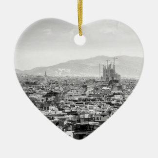 Black and White Barcelona Ceramic Heart Decoration