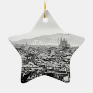 Black and White Barcelona Ceramic Star Decoration