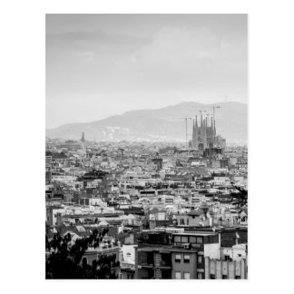 Black and White Barcelona Postcard