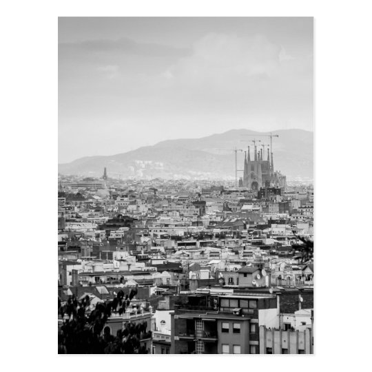 Black and White Barcelona Postcard