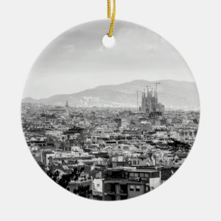 Black and White Barcelona Round Ceramic Decoration