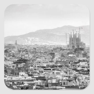 Black and White Barcelona Square Sticker