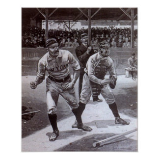 Black and white baseball image poster