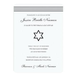 Black and White Bat & Bar Mitzvah Invitation
