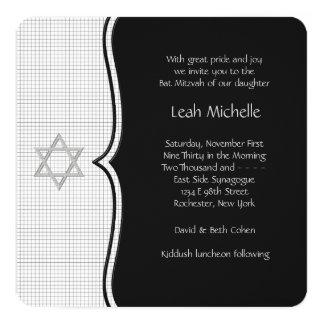 Black and White Bat Mitzvah 13 Cm X 13 Cm Square Invitation Card