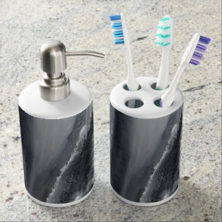 Black and White Beach Abstract Bathroom Set