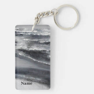 Black and White Beach Abstract Keychain