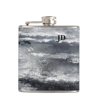 Black and White Beach Abstract Monagram Flask