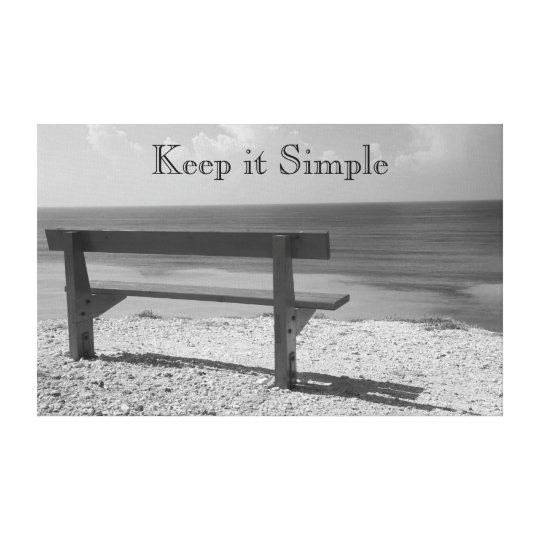 Black and White Beach Bench Canvas Print