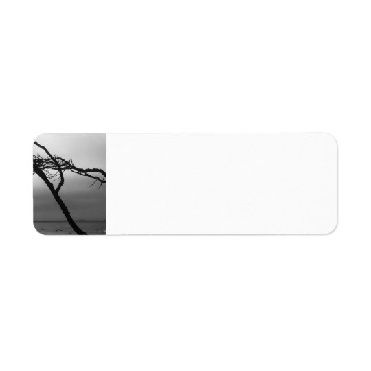 Black and white beach branch address label