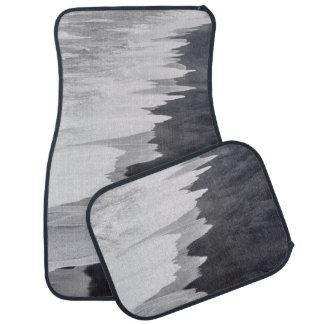 Black and white beach scenic car mat