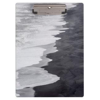 Black and white beach scenic clipboard