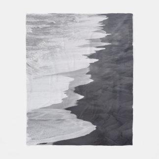 Black and white beach scenic fleece blanket