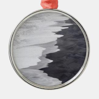 Black and white beach scenic Silver-Colored round decoration