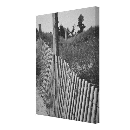 Black and White Beach Wrapped Canvas