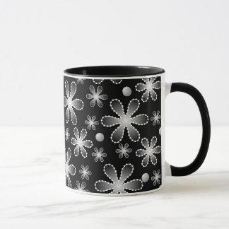 Black and White Bead Flowers Ringer Mug