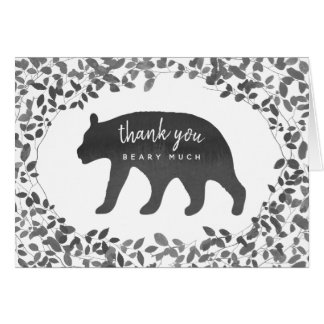Black And White Bear Cub Foliage Thank You Card