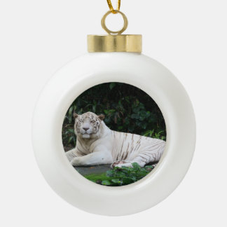 Black and White Bengal Tiger relaxed and smiling Ceramic Ball Christmas Ornament