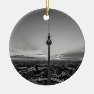 Black and White Berlin at Winter Round Ceramic Decoration