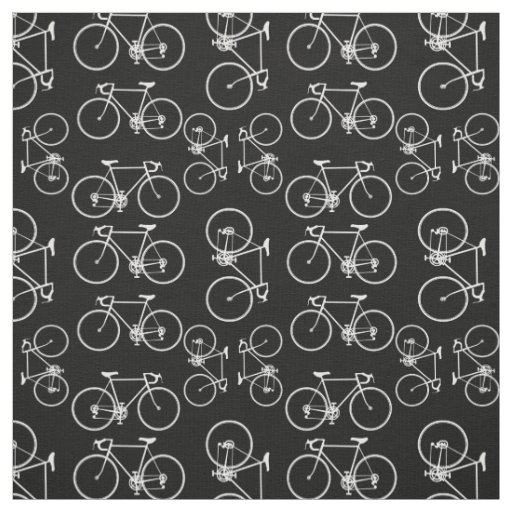 Black and white bicycle pattern fabric