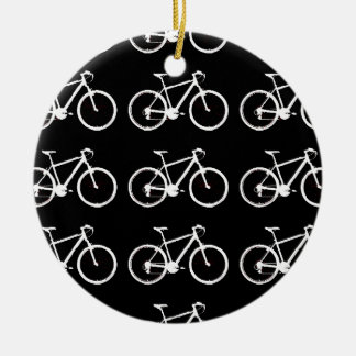 black and white bicycles patterning round ceramic decoration
