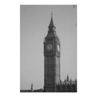 Black and White Big Ben Custom Stationery