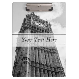 Black and White Big Ben Photograph, London Clipboard
