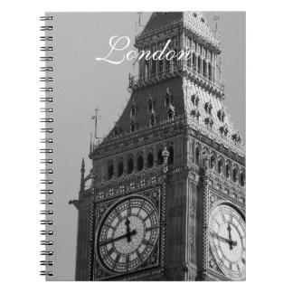 Black and White Big Ben Vintage London Spiral Notebook