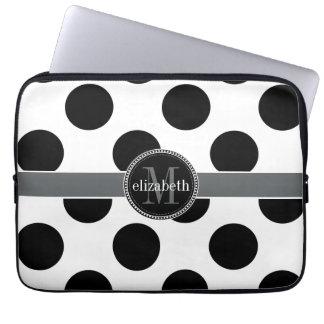 Black and White Big Polka Dots Monogram Laptop Computer Sleeve