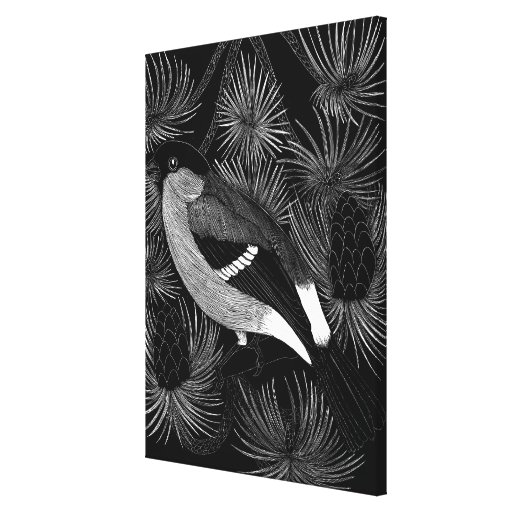 Black and White Bird Gallery Wrap Canvas