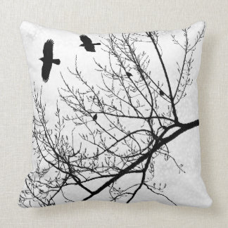 Black and White Bird Crow and Tree Silhouette Cushion