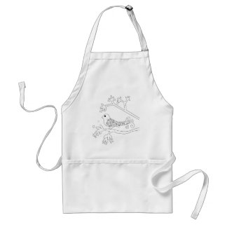 Black and White Bird on a Branch Aprons