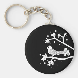 Black and White Bird on a Branch Keychain
