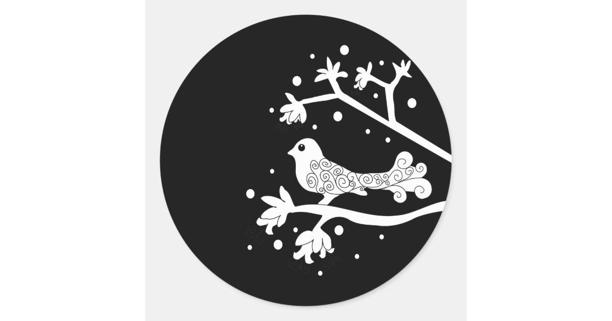 Black And White Bird On A Branch Round Sticker