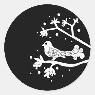 Black and White Bird on a Branch Classic Round Sticker